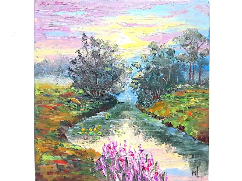 River Painting Sunrise Landscape Original Art Foggy Artwork Flowers Painting Rural Art  8 by 8 by annimonartstudio