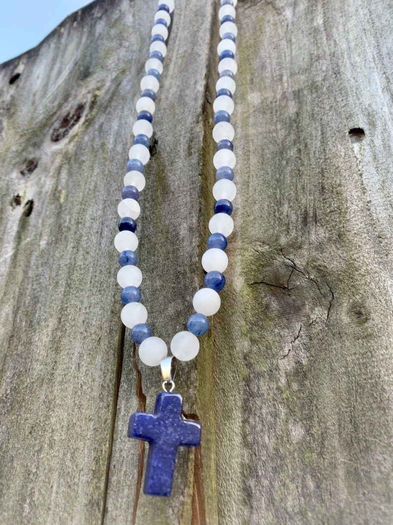 Genuine handmade cross Faith Blue Aventurine and natural frosted matte white jade gemstone beaded necklace or car mirror hanging