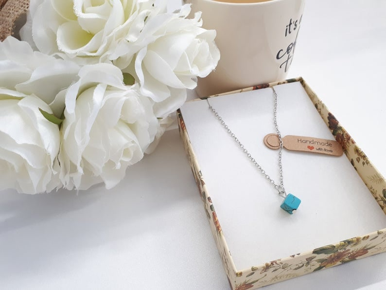 Turquoise Square Silver Necklace  Square Pendant  Turquoise Charm Necklace  December Birthstone  Turquoise Jewelry-Silver Plate Necklace