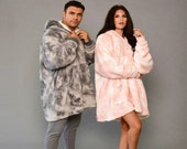 Oversized Tie Dye Blanket Hoodie Wearable Sherpa Fleece Sweatshirt UK