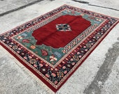 Wool Rug VINTAGE RUG Oushak Rug Floor Rug Area Rug Bedroom Rug 6.6x8.9 feet oversized rug Large Vintage Rug Turkish Rug İm1020