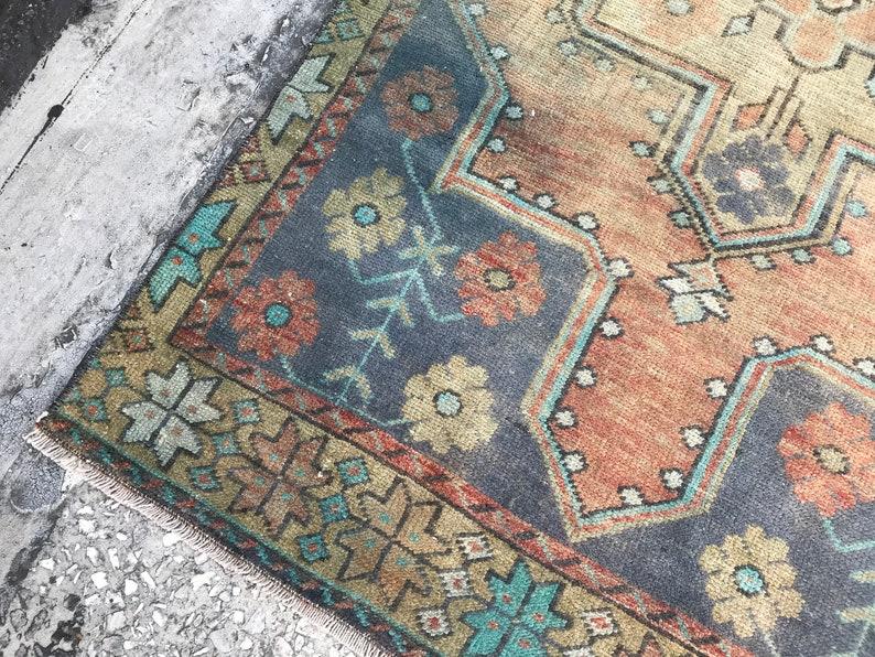 Vintage Handmade Kitchen Oushak Runner Rug Turkish Runner Rug 2.8x5.5 DK537 Vintage Decorative Runner Rug Anatolia Hallway Runner Rug