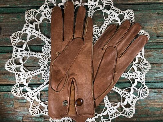 Vintage leather gloves from Au Bon Marché Paris -