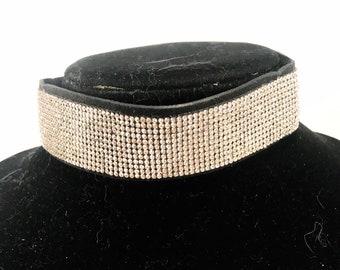 silvertone Purple cz pave leather choker necklace