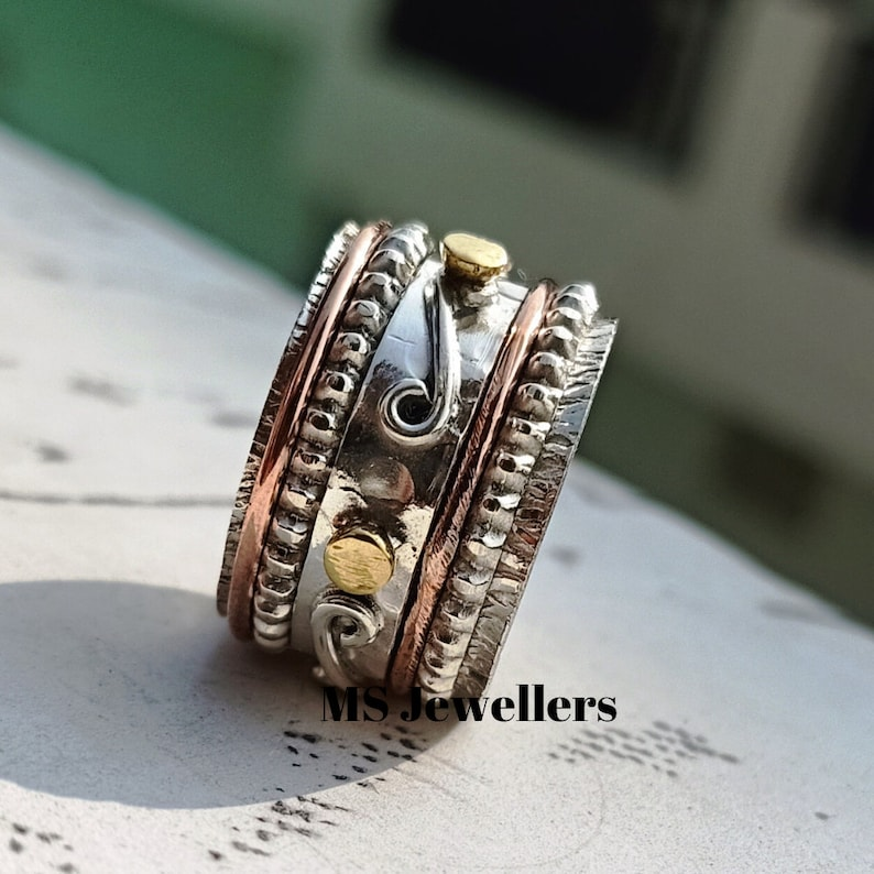 Beautiful Spinner 925 Sterling Silver Spinner Ring-Textured Meditation Ring-Multi Tone Spinner Ring-Anxiety Ring-Silver Women Jewelry MS343
