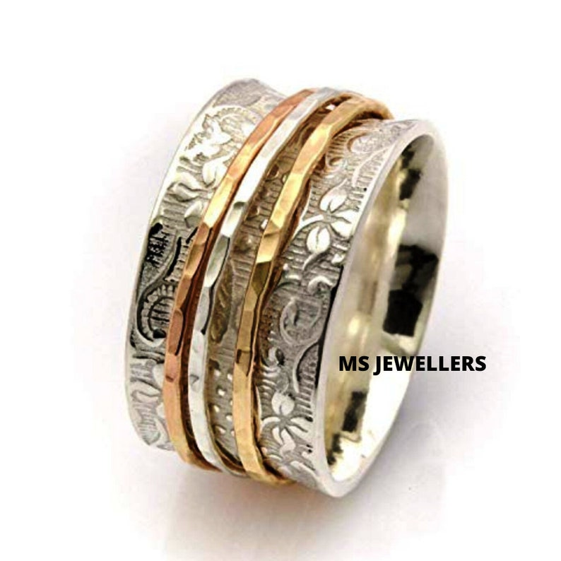 925 Sterling silver-Spinner Ring-Meditation Ring-Heart Ring-Anxiety Ring-Statement Ring-Fidget Ring-Worry Ring-Women Silver jewelry MS170