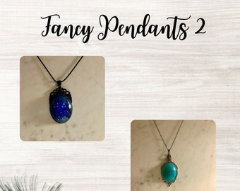 Fancy Bezel Set Resin Pendants II with 18 inch Chain ~ Perfect Gift ~ Statement Necklace