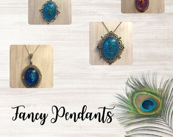 Fancy Bezel Set Resin Pendants with 18 inch Chain ~ Perfect Gift ~ Statement Necklace