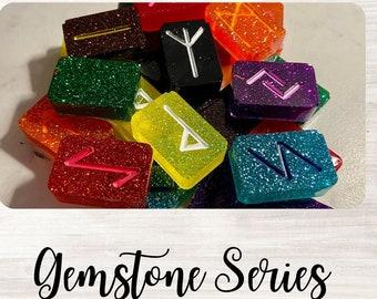 Gemstone Series Elder Futhark 27 pc Rune Stone Set / Divination / Customized