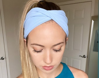 S317 Cute Girly Light Blue Wired Headband with Knitted Style Flower Print
