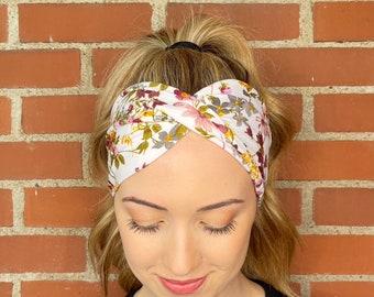 Amazing Ladies Rétro Vintage Spring-Look Elastic Beige Floral Headband s323