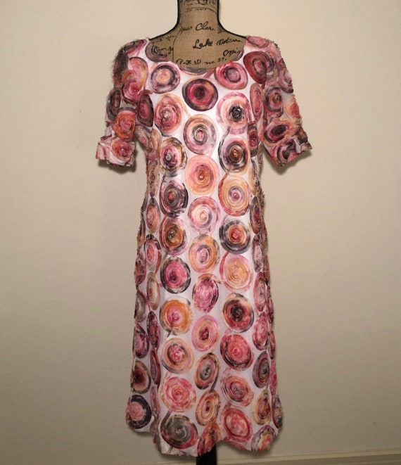 Vintage 1980's Mock Floral Swirl Midi Dress