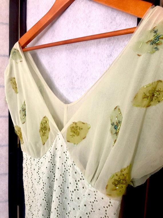 Vintage 1970's Pear and Mint Peasant Dress - image 3