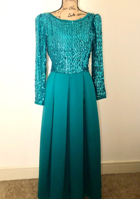Vintage 1980's Teal Sequin Prom Dress