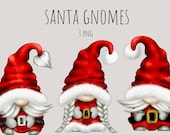 Santa Gnomes PNG Christmas Gnomes Png Hand Drawn Watercolor Christmas Gnome Clipart, Digital Instant Download, Commercial PNG
