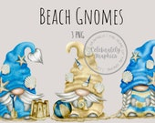 Beach Gnomes Hand Drawn Watercolor Seashells Gnome Clipart, Digital Instant Download, Commercial PNG