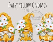 Yellow Daisy Gnomes PNG, Gingham Gnomes Clipart, Summer HandDrawn watercolour Artwork, Instant Download Clipart
