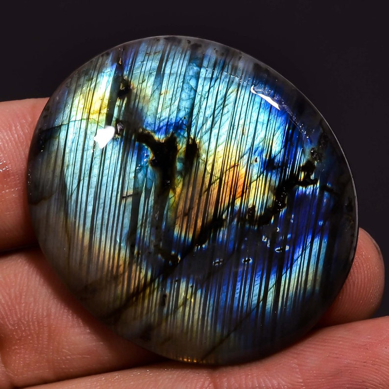 Gemstone For Jewelry A-190 Natural Multi Labradorite 76.15 Ct Oval Cabochon Stone 38X34X7 MM STUNNING