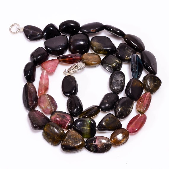 Natural gemstone Wire Wrapping Jewelry Making Supplies Beading Semiprecious Gemstone Beads Multi tourmaline Smooth Nuggets Tumble