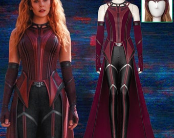 Wandavision Scarlet Witch Cosplay Costume Cloak Crown Boots Ouifit
