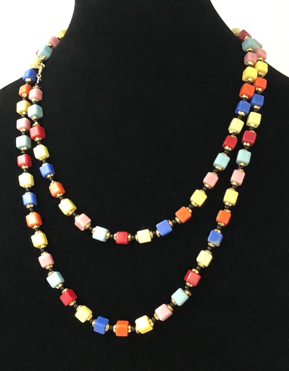 Vintage Harlequin Flapper Style Necklace