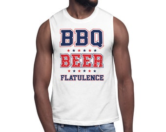 BBQ Beer and Flatulence Hey Poopy Muscle Shirt
