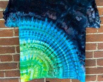 Insane psychedelic double peacock fan fold tie dye incline T-shirt size L