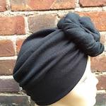 Vintage style KNOTTED TURBAN - Plain Black