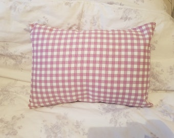 Blue Bunny On Pink Gingham Throw Pillow