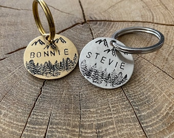 Dog tag trees and mountains