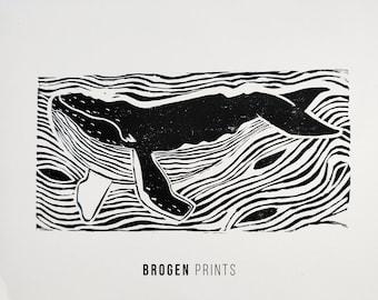 A4 Whale print