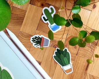 3 Cactus Stickers Set - Cute Accessory for Smartphone or Laptop