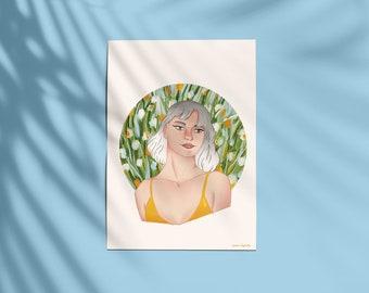 Summer Breeze - A5 & A4 Art Print / Portrait / Digital Painting