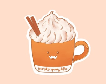 Pumpkin Spooky Latte Sticker - Halloween, Decoration