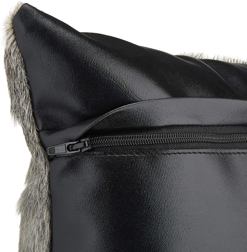 Original Dark Exotic Brown Cowhide Cushion Cover Set of 2 16x16 in Cow Skin Pillowcase