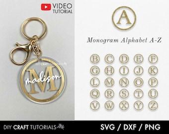 Monogram SVG Alphabet, Monogram Svg, Keychain svg, Frame Monogram Svg, keyring patterns svg, keychain patterns svg, key fob svg, circle svg