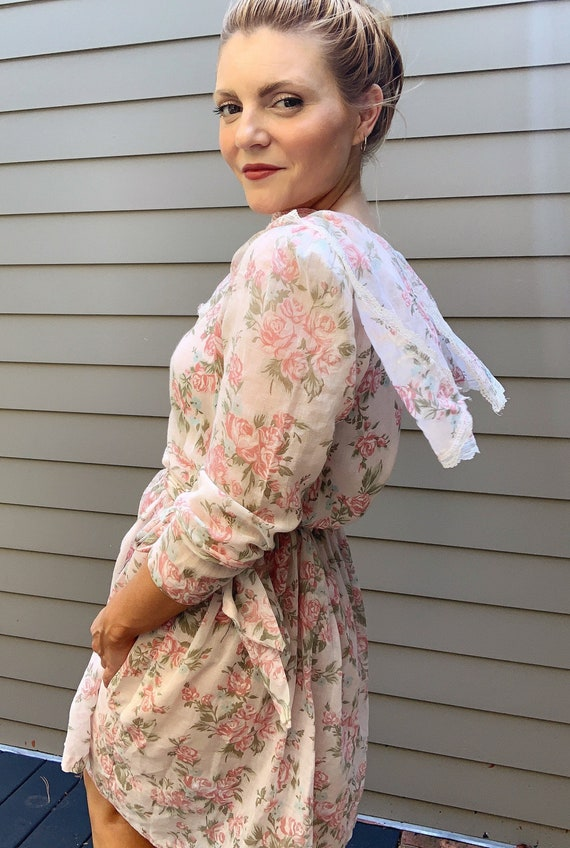 Vintage 80s floral puff sleeve pilgrim collar dres