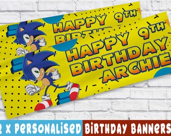 x2 Personalised Birthday Banner Pokemon Children Kids Party Decoration Poster