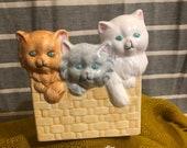 Vintage Napco Kitten Planter Orange, Grey, White Kitten and Paw Print Planter
