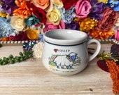Retro Kitschy Sheep Ceramic Coffee Mug Vintage Farm Animal Soup Mug