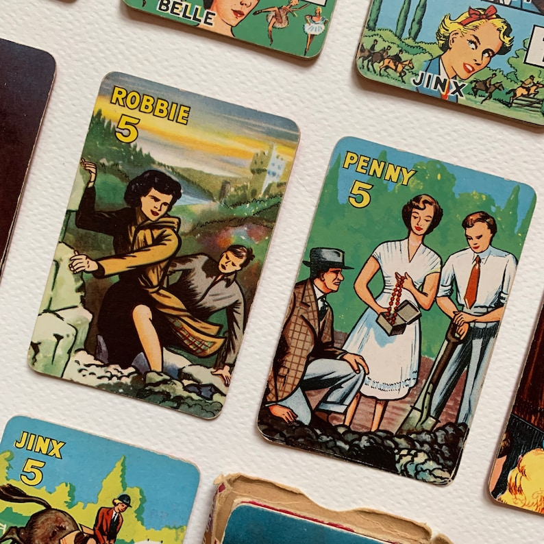 1950s Vintage Card Game Card Making Vintage Illustrated Pepys Girl 1955 Game Craft