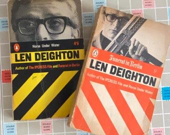 2 Len Deighton - Funeral in Berlin - Horse Underwater - Penguin Books - Michael Caine - 1970 - Spy Book Lovers Gift