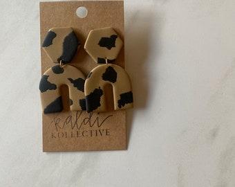black + tan arch dangles // handmade polymer clay earrings