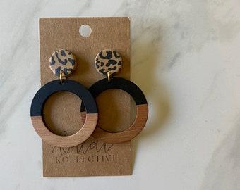 WILD THING KOLLECTION // cheetah + wood dangles