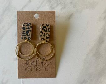 E L I Z A B E T H in cheetah // WILD THING KOLLECTION // handmade polymer clay earrings