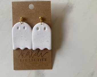 white speckled ghost dangles // handmade polymer clay earrings