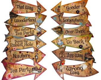 Alice in Wonderland Party Vintage Style Arrow Signs/Mad Hatters Tea Party Props Pack of 10 Signs