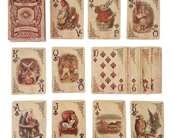 Alice In Wonderland Playing Cards - Full Set - Perfect for Gifts, Games, Decor, Alice in Wonderland Party Supplies and Decoration