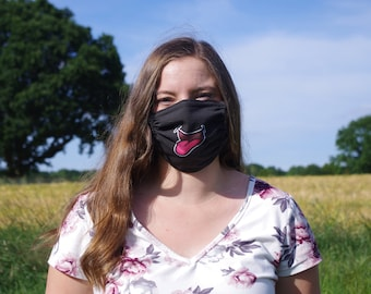 Printed everyday mask with loop in the neck, makeshift mask, mouth and nose mask for binding, grin mask, laughing mask, face mask