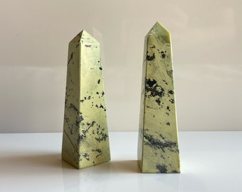 Serpentine Point Green Serpentine with Pyrite Polished Serpentine Tower Crystal Obelisk